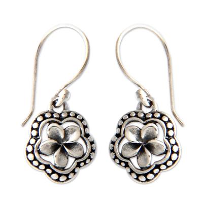 Sterling silver flower earrings, 'Loyal Frangipani' - Handmade Sterling Silver Flower Earrings