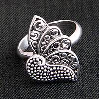 Sterling silver cocktail ring, 'Timeless Soul' - Sterling Silver Butterfly Ring
