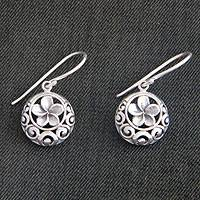 Sterling silver flower earrings, 'Loyal Promise' - Unique Sterling Silver Flower Earrings