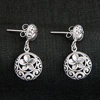 Sterling silver flower earrings, 'Promised Loyalty' - Hand Made Floral Sterling Silver Dangle Earrings