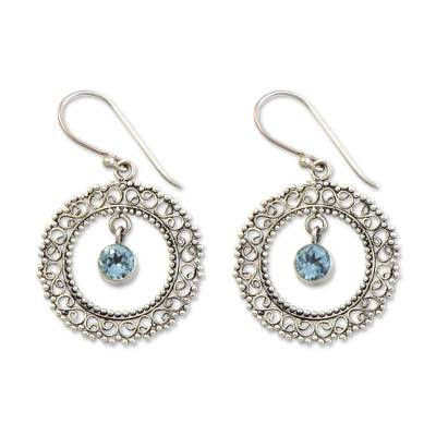 Blue topaz dangle earrings, 'Radiant Halo' - Indonesian Sterling Silver and Blue Topaz Earrings