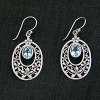 Blue topaz flower earrings, 'Jasmine Raindrops'