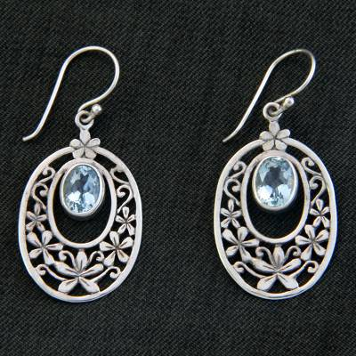 Blue topaz flower earrings, 'Jasmine Raindrops' - Hand Crafted Blue Topaz and Sterling Silver Dangle Earrings