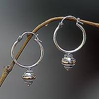 Gold accent hoop earrings, 'Reminisce'