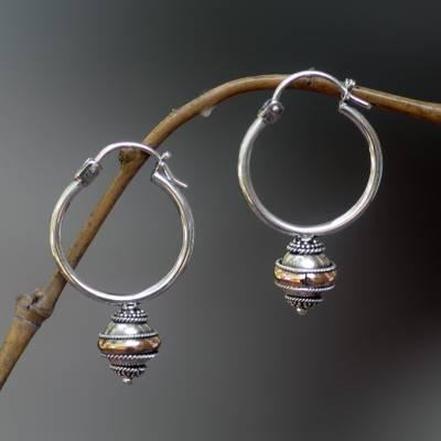 Gold accent hoop earrings, 'Reminisce' - Silver and 18k Gold Hoop Earrings