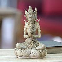 Wood statuette, 'Arjuna, the Archer' - Wood statuette