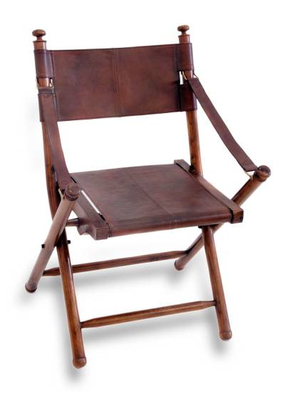 Bon Teakwood And Leather Folding Chair, U0027Java Dutchu0027   Fair Trade Modern Wood  And