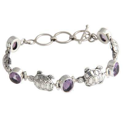 Unique Purple Amethyst Sterling Silver Sea Turtle Link Bracelet