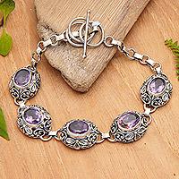 Amethyst floral bracelet, 'Tropical Paradise' - Indonesian Sterling Silver and Amethyst Link Bracelet