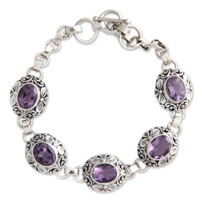 Indonesian Sterling Silver and Amethyst Link Bracelet