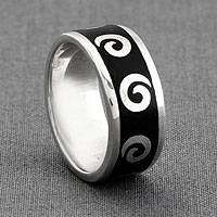 Sterling silver band ring, 'Midnight Waves' - Sterling silver band ring