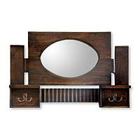 Teakwood mirror, 'Java Memory' - Teakwood mirror