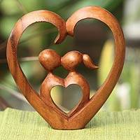 Wood sculpture, 'Story of Love' - Hand Carved Heart Sculpture