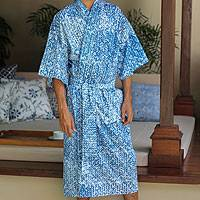 Men's cotton robe, 'Blue Baskets'