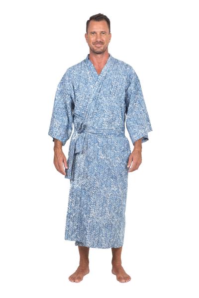 Men's cotton robe, 'Blue Baskets' - Men's Unique Cotton Robe