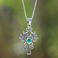 Sterling silver pendant necklace, 'Denpasar Dew' - Sterling silver pendant necklace