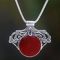 Carnelian pendant necklace, 'Majapahit Glam' - Artisan Crafted Silver and Carnelian Pendant Necklace