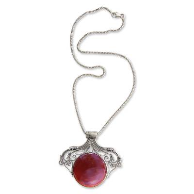 Carnelian pendant necklace, 'Majapahit Glam' - Artisan Crafted Silver and Carnelian Pendant Necklace