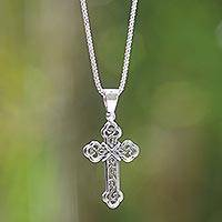 Sterling silver cross necklace, 'Luminous Faith'