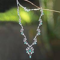 Sterling silver floral necklace, 'Majapahit Majesty'