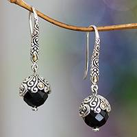 Onyx dangle earrings, 'Denpasar Belle'