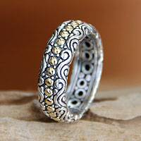 Gold accent band ring, 'Sumatra Suns' - Intricate Indonesian Silver Band Ring Accented with Gold
