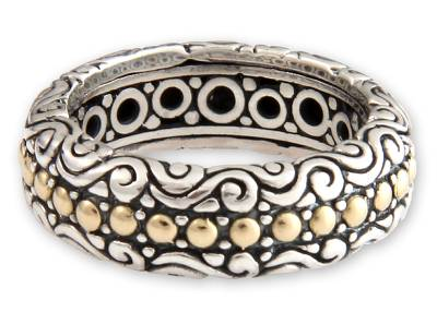 Gold accent band ring, 'Sumatra Suns' - Handcrafted Indonesian Gold Accent and Silver Band Ring