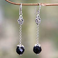Onyx dangle earrings, 'Singaraja Muse' - Onyx dangle earrings