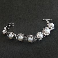 Cultured pearl link bracelet, 'Moonlit Serenade'