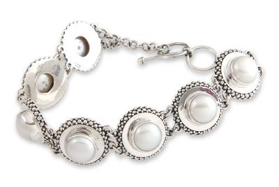 Hand Crafted Pearl and Silver Link Bracelet