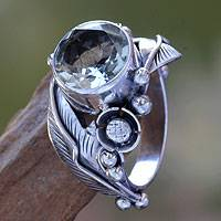 Prasiolite flower ring, 'Sunflowers' - Handcrafted Floral Prasiolite Ring