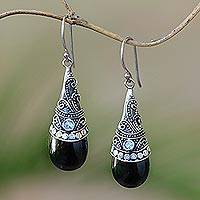 Hematite and rainbow moonstone dangle earrings, 'Bali Mystique' - Hematite and Rainbow Moonstone Silver Earrings