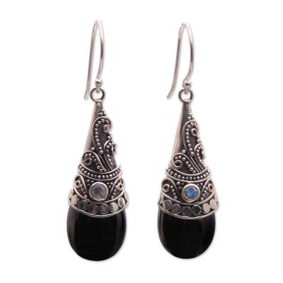 Hematite and Rainbow Moonstone Silver Earrings