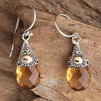 Citrine dangle earrings, 'Sunny Glow'