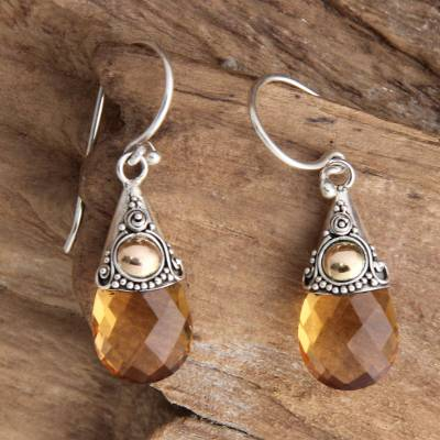 Citrine and Silver Dangle Earrings 13 carats