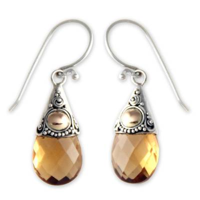 Citrine dangle earrings, 'Sunny Glow' - Hand Crafted Citrine and Sterling Silver Earrings