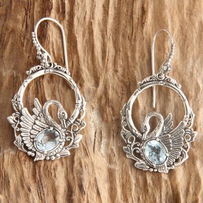 Blue topaz dangle earrings, 'Dancing Swan' - Handmade Sterling Silver and Blue Topaz Bird Earrings