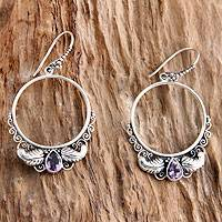Amethyst dangle earrings, 'Moon Garden' - Handmade Sterling Silver and Amethyst Dangle Earrings