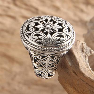 Sterling silver flower ring, 'Forest Blossom' - Floral Sterling Silver Signet Ring