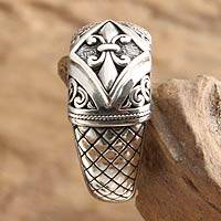 Sterling silver ring, 'Fleur de Lis' - Indonesian Sterling Silver Domed Ring
