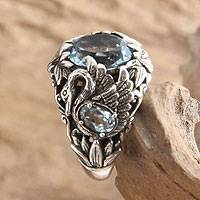 Blue topaz cocktail ring, 'Dancing Swan'