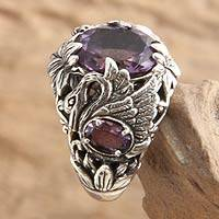 Amethyst cocktail ring, 'Dancing Swan' - Unique Amethyst and Garnet Bird-Themed Ring from Indonesia