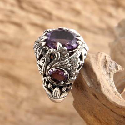 Amethyst cocktail ring, 'Dancing Swan' - Amethyst and Garnet Cocktail Ring