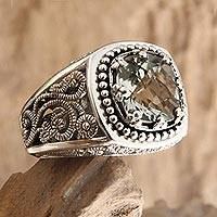 Prasiolite cocktail ring, 'Rain Forest Sparkle' - Sterling Silver and Prasiolite Ring from Indonesia