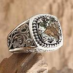 Handcrafted Sterling Silver and Prasiolite Ring, 'Rain Forest Sparkle'