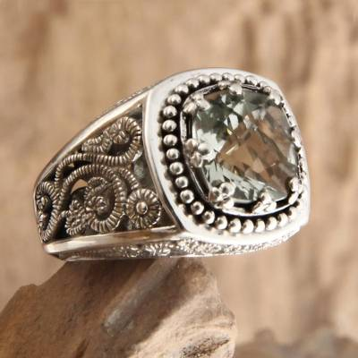 Prasiolite cocktail ring, 'Rain Forest Sparkle' - Handcrafted Sterling Silver and Prasiolite Ring