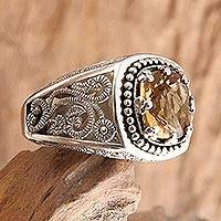 Citrine cocktail ring, 'Rain Forest Sparkle' - Sterling Silver and Citrine Ring from Indonesia