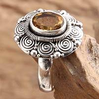 Citrine flower ring, 'Balinese Sunflower' - Indonesian Sterling Silver and Citrine Cocktail Ring