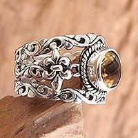 Citrine cocktail ring, 'Golden Fleur de Lis' - Citrine and Silver Cocktail Ring