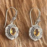 Citrine flower earrings, 'Balinese Sunflower' - Floral Sterling Silver and Citrine Dangle Earrings